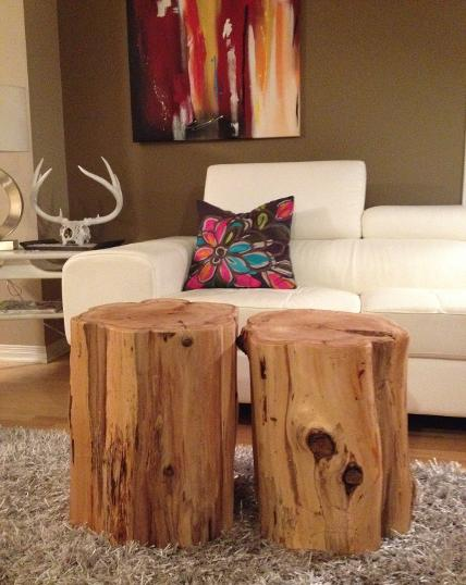 Wood Stumps Side Tables, Stump Coffee Table